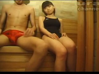 Japanese teen sauna blowjob Video