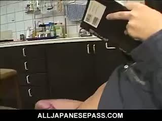 Sexy Japanese Maid For The Day Gobbles Down Her Bosses Cock