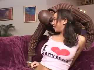 Big butt brunette take on a black boner