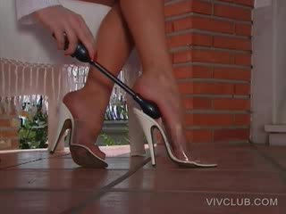 outdoors stripping tease with Blond on heels