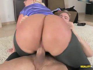 Big ass blonde rides and sucks