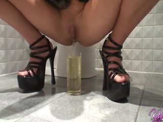 British pornstar blondes peeing in the bathroom