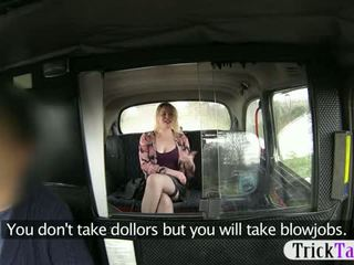 Pretty Blonde Tourist Gives Blowjob To Pay For Her Taxi Fare