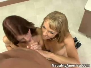 Elli Fox And Shayla Laveaux Playing On Their Throats With A Hard Meatpole