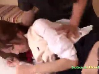 Schoolgirl Getting Her Hairy Pussy Licked Giving Blowjobs For 2 Guys On The Bed