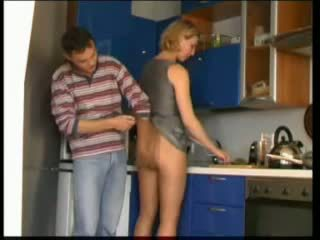 russian milf fucks in kitchen