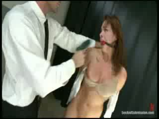 Hot chick tied up and fucked hard