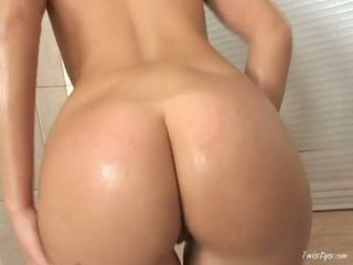 Roxy Carter Playing Her Curly Pussy With Her Hands On The Shower Room
