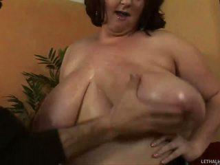 Hugetits chubby slut sucking one exotic penis