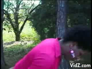 Filthy ebony transsexual fucked outdoors
