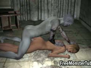 3D Cartoon Blonde Gets Fucked Hard By A Zombie