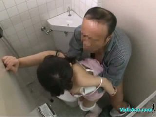 Nurse Getting Her Hairy Pussy Fucked Riding On Patient Cock In The Toilette