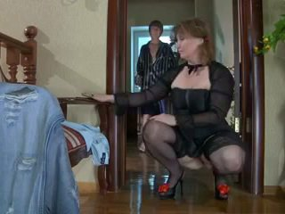 Beautiful mom in stockings & guy