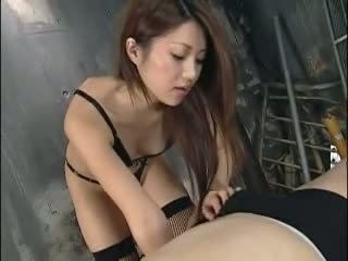 Hot Asian femdom babe plays with her tied lover