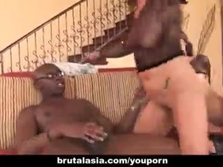 Black cock shares two tight Asian babes