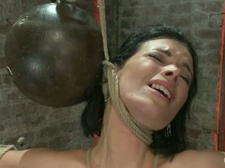 Sexy Thin Girl With Huge Boobs Has Massive Orgasmswhile Neck Rope Slowly Chokes Her Almost Out