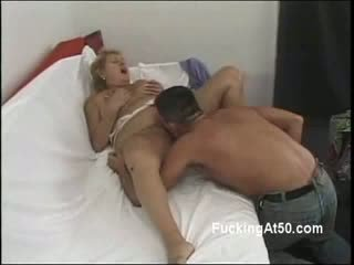 Obese Blond grandma blows and fucks chick kinky dude