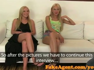FakeAgent Two horny blonde amateurs ride cock in casting