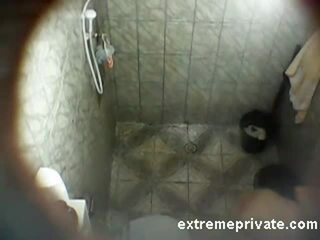 Spying Latina Mum soaping in the shower Video
