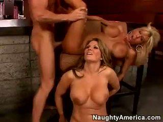 Filthy blonde Misty vonage enjoys a nice cum swap from filthy friend Elle Cee
