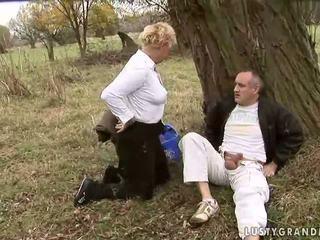 Granny gets fucked pretty hard outdoor