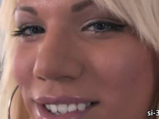 Yummy tgirl Annalise jerks off and cums