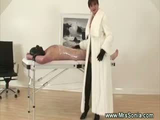 Mistress Strips During Tugjob For Her Slave