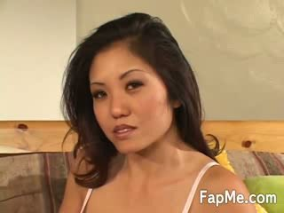 nice oriental girl get up close and personal with a big white dong