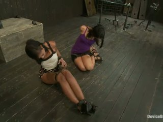 Pair Smut Ebony Haired Gals In Sensuous Sadism Process