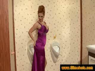 Redheads big boobs get covered in cum