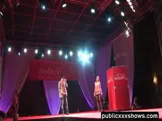 Public topless sex show