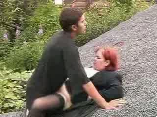 Homeless guy fucks Red head bitch cunt