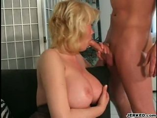 Breasty Golden Haired Mama Carolyn Monroe Enjoys A Meaty Stick Screwing In Her Warm Mouth