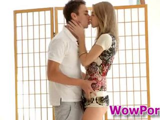 Amazingly hot teen Anjelica blows a cock and gets fucked