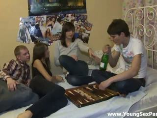 Foxy drunken teens having wild foursome hardcore sex