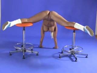Busty Flexible Blonde Shows Naked Gymnastics
