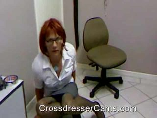 Crossdresser jerks and cums on cam