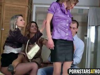 Four glamour pornstars share cock