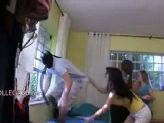 Three Young Girls Loving With Burglar