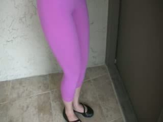 Wetting her shiny spandEx-girlfriend pants