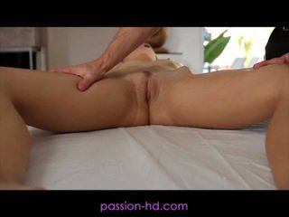 Sexy blonde fucked hard after hot massage