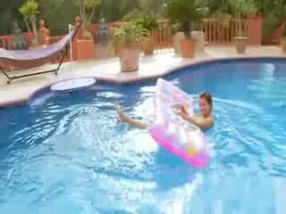 Busty model masturbating in the pool