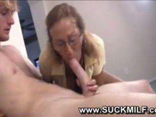 Horny Cougar Granny Sucks Young Guy