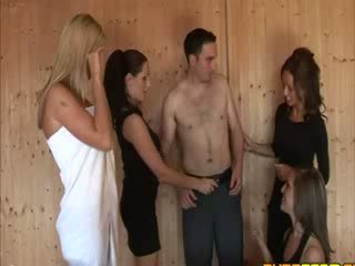 Babes take turns jerking at a sauna