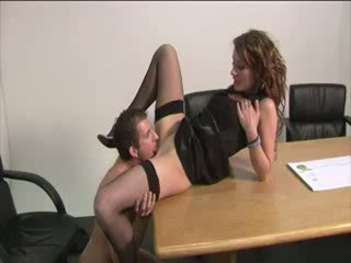 model gets fucked on an office desk to get that promotion