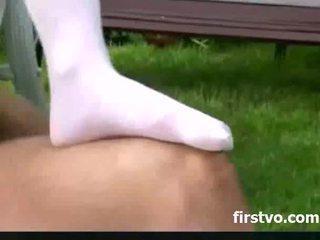 Stocking sex in the backyard