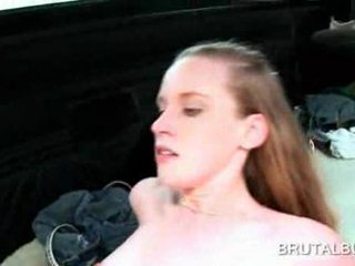 Redhead naughty girl fucked and jizzed in the sex bus