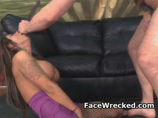 Dirty Brunette Amateur Girl Choking From Rough Face Fuck