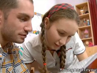 Cute schoolgirl's first time anal