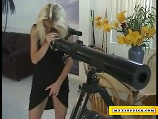 Filthy blonde spying on her neighbour